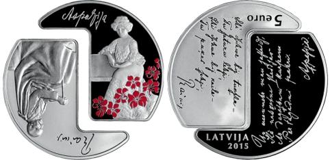 Letonia 5€ Rainis Aspazija 2015